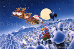 Christmas Reindeer Sleigh with Santa Claus
