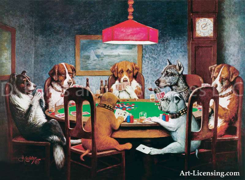 dogs playing poker a friend in need