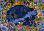 Animals Watch the Constellations Reflected in a Pool