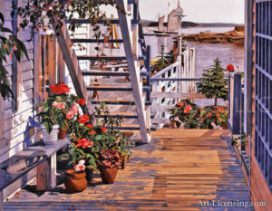 Blue Stair and Begonias