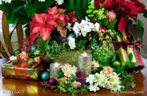 00018-Christmas Poinsettia,Cyclamen, Candles
