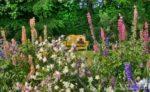 00167-Flower Garden Yellow Bench