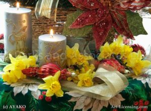 00900-Yellow Daffodil, Candle,Christmas
