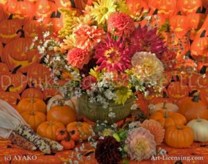00911-Autumn flowers setting-Dahlia-Pumpkins
