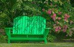 00915- Flower Garden -Green Bench with a Bird