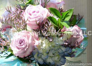 1185-Pink Roses and Blue Hydrangeas Bouquet