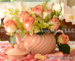 1283-Pink Roses in Pink Teapot