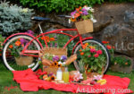 1673-Red Bicycle-Flower, Fruit and Bread Picnic in Summer