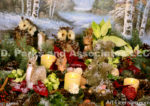 2451-Christmas Candles and Animals outdoor decoration