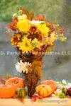 3927-Fall Flower Arrangemen-Mums-Pumpkins-Maple Leaf
