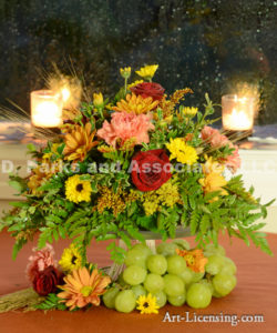 4065-Fall Setting-Rose-Candle-Grape