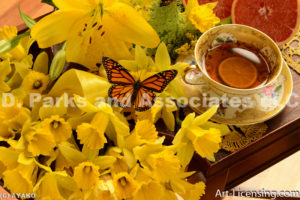 4465-Yellow Daffodil and Butterfly