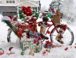 4999-Christmas Present on Bicycle on Snow
