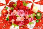 5084-Christmas Red and Pink Roses Bouquet