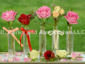 5229-Roses in Glass bottles