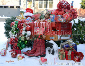 5915T-Christmas Presents in Red Wagon on Snow