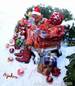 5980-Christmas Presents in Red Wagon on Snow