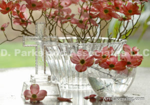 6461-Pink Dogwood in Glass bowl