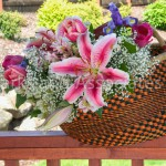 Lily Flower Arrangement in African Basket
