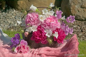 Pink Peonies and Bell flowers Bouquet