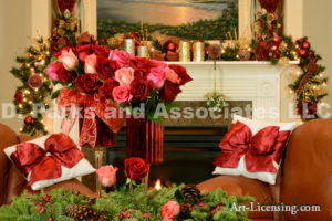 Christmas Red Roses in the room