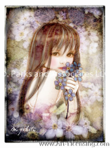 ACEO LE PRINTS Fantasy Fairy Forget Me Nots blue flower