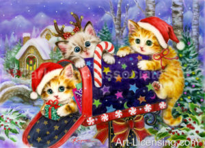 Christmas Kittens at the Mailbox