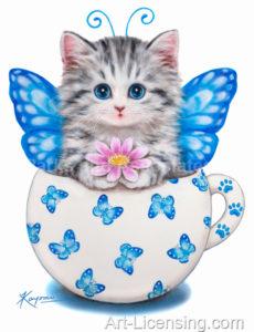 Cup Kitten Blue Butterfly