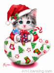 Cup Kitten Christmas