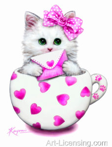 Cup Kitten Pink Hearts