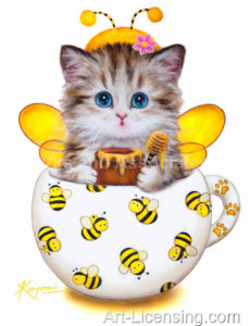 Cup Kitten Yellow Bee