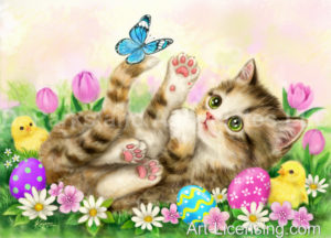Easter Flowers Garden Kitten