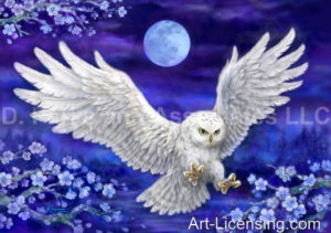 Flying White Owl