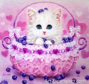 Kitten in a Blueberry Basket