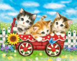 Kittens In Red Wagon