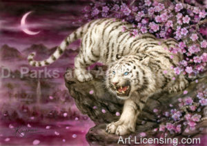 White Tiger and Cherry Blossom