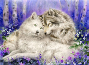 Wolf-Inspired by the Story of Lobo The King of Currumpaw-Lobo and Blanca-Spring Romance-Art in progress-SM