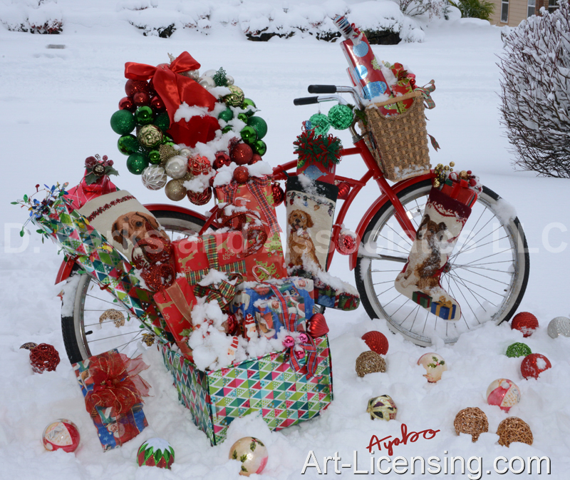 Ayako-4804-Christmas Presents Bicycle on Snow