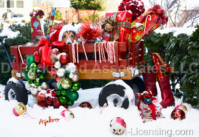 Ayako-Christmas Presents and Dog in Red Wagon on Snow