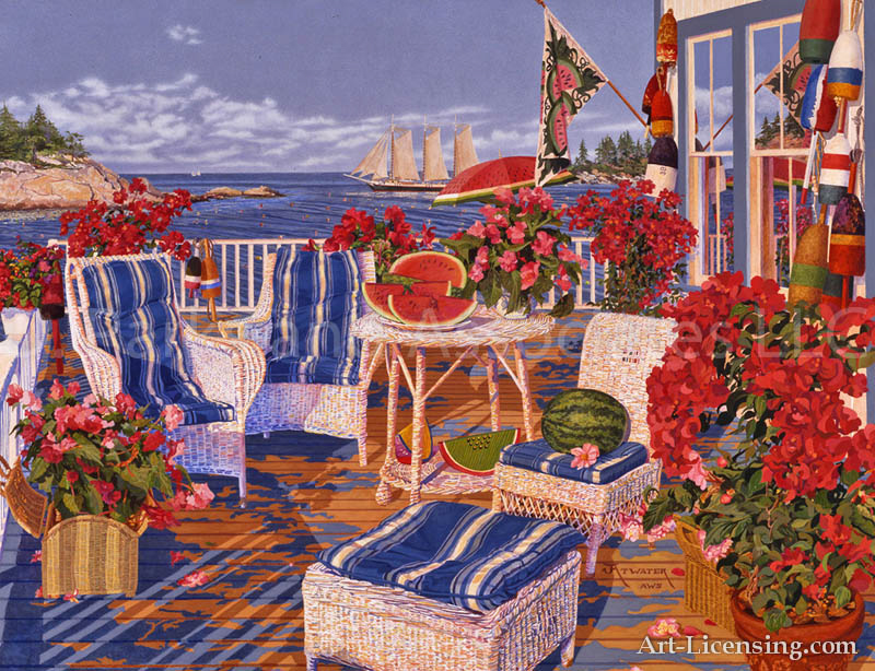 John Atwauer-Blue Stripes and Begonias