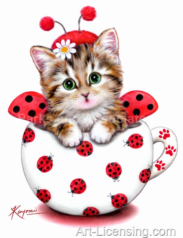Kayomi Harai-Cup Kitten Red Ladybug
