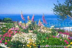 002Art-Ocean View from Ritz Laguna Niguel Flower Garden-by AYAKO