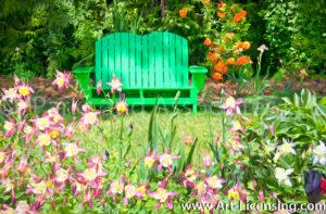 0039Art-Green Bench Aquilegia Flower Garden-byAYAKO