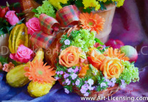 0496Art-Roses and Pumpkins Autumn Bouquet-by AYAKO