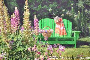 0842Art-Green Bench in the Flower Garden-by AYAKO