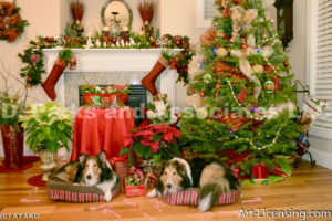 1982-Christmas Decoration Room with Sheltie Dogs-by AYAKO