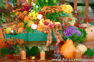 3234Art-Autumn Flowers and Pumpkins on Green Wagon-by AYAKO