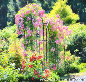 4891Art-Pink Roses Arch in The Rose Garden-by AYAKO