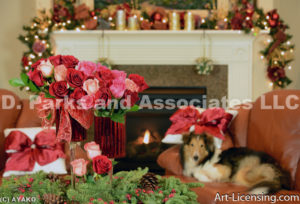 4954-Christmas Decoration Room with Sheltie Dog-by AYAKO