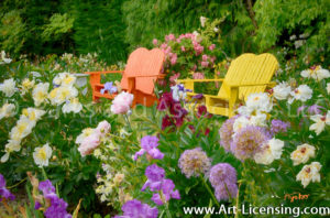 7150Art-Orange and Yellow Bench in The Flower Garden-by AYAKO